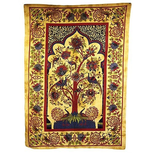 Tree of Life Indian Cotton Bedspreads or Wall Art - (Size 225x151cm)