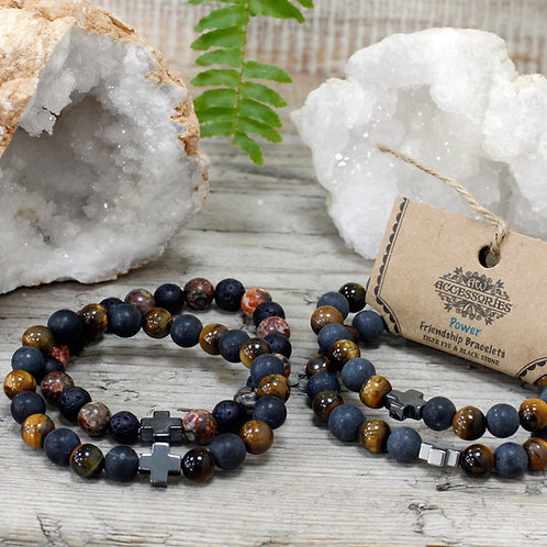 Power - Tiger Eye and Black Stone Crystal - Set of 2 Friendship Bracelets