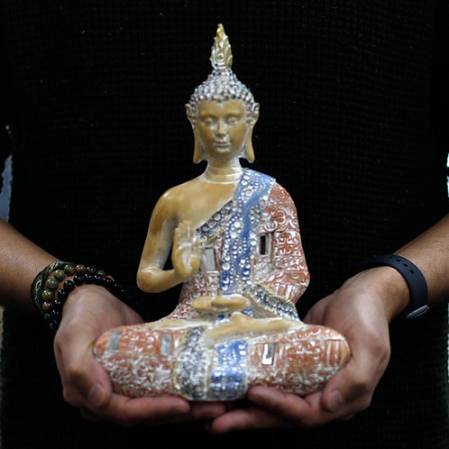 Thai Buddha - Protection - Terraccotta and Sky Blue 26 cm