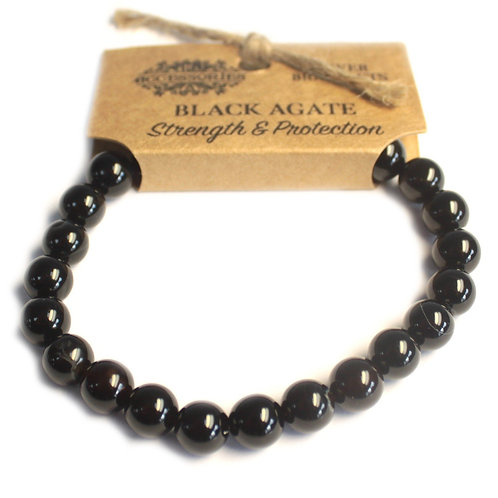 Power Bracelet - Black Agate For Strength and Protection