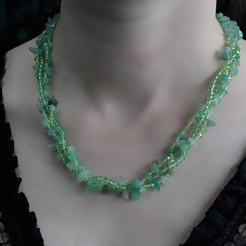 Jade Crystal chip stone and Bead Necklace