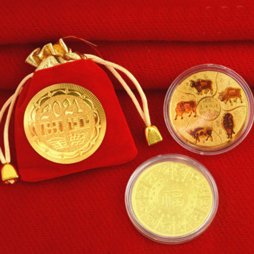 2021 Year Of The Ox Good Luck Commemorative Coin - 3 piece set.