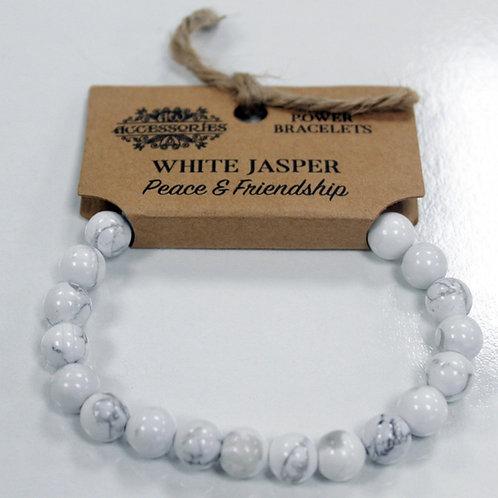 Power Bracelet - White Jasper - For Peace and Friendship