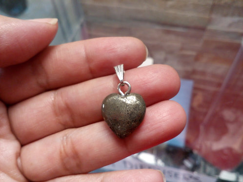 Pyrite Heart pendant with chain
