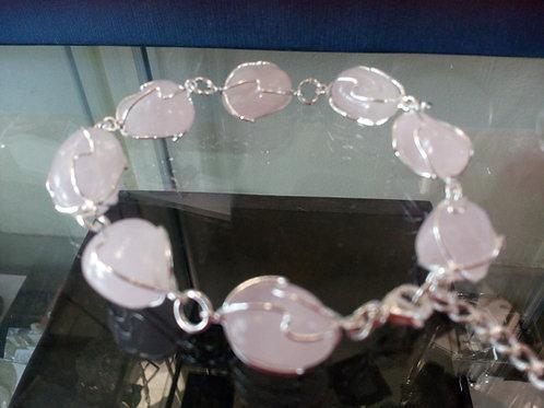 Rose Quartz Crystal Bracelet - Silver Plated