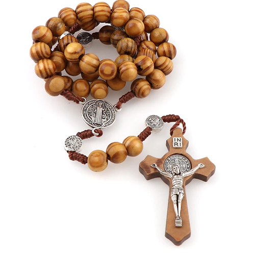 Wooden Rosary Necklace - Cross Pendant (Crucifix) - 8mm bead size