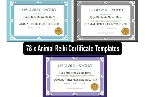 78 x ANIMAL Reiki Level 1, 2 and 3 Master/Teacher Editable Certificate templates