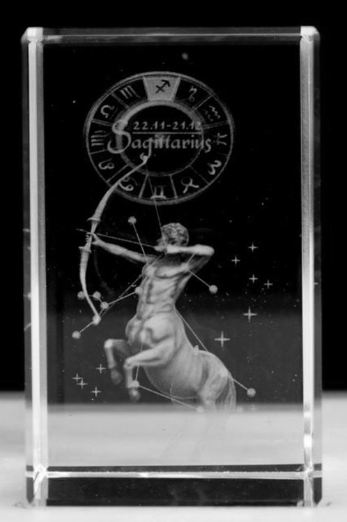 Sagittarius - Zodiac Sign 3D Crystal Block with presentation box
