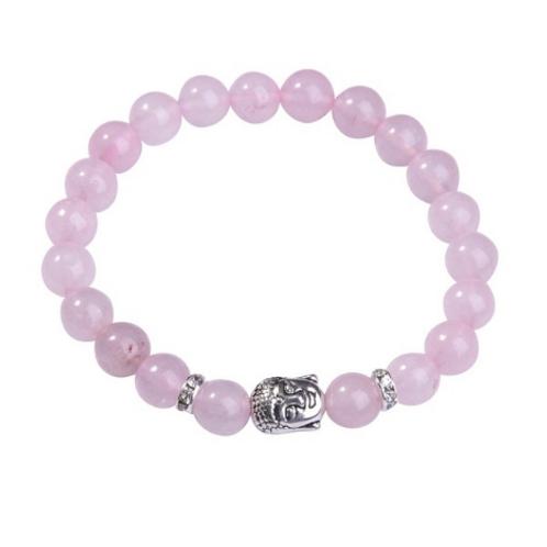 Rose quartz Crystal Buddha bracelet