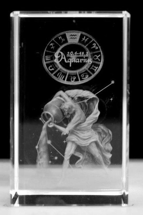 Aquarius - Zodiac Sign 3D Crystal Block with presentation box