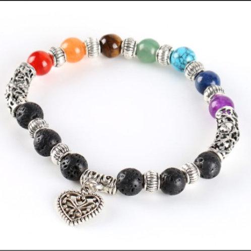 7 Chakra Rainbow bracelet with Heart pendant