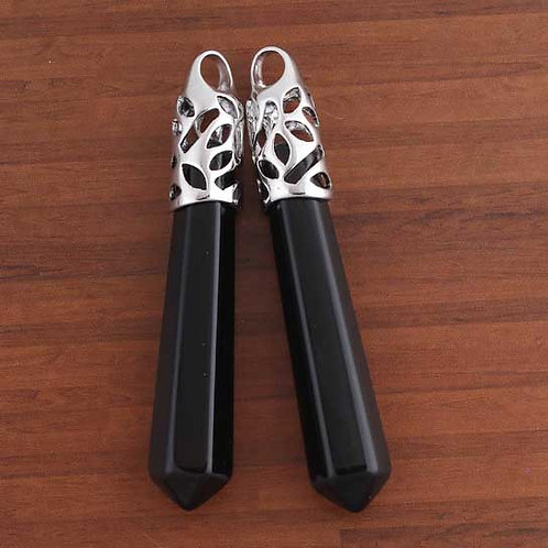 Silver Plated Natural Black Onyx pendant with a leather chain.