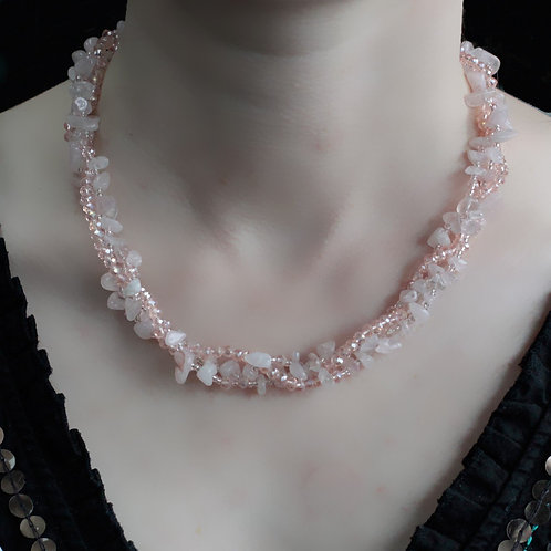 Rose Quartz Crystal chip stone and Bead Necklace