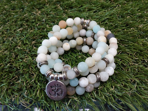 Amazonite Crystal bead Ohm mala bracelet - 6mm Beads