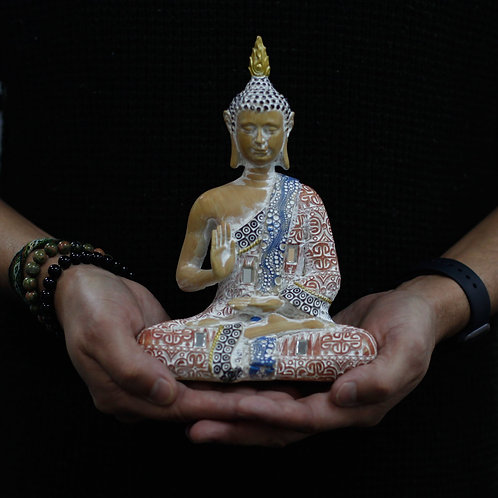 Thai Buddha - Protection - Terraccotta and Sky Blue 20 cm