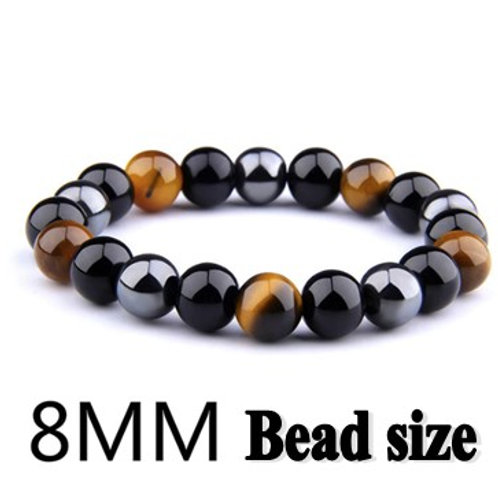 Crystal Power Bracelet - Obsidian - Hematite - Tigers Eye - 8mm beads size