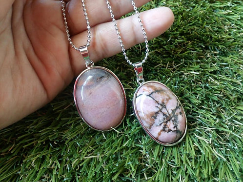 Rhodonite Crystal Pendant with chain