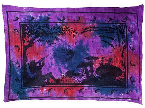 Indian Bedspread or wall art - Purple Fairy Under Tree - (Size 225cmx155cm)