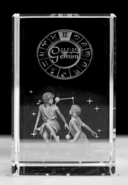 Gemini - Zodiac Sign 3D Crystal Block with presentation box