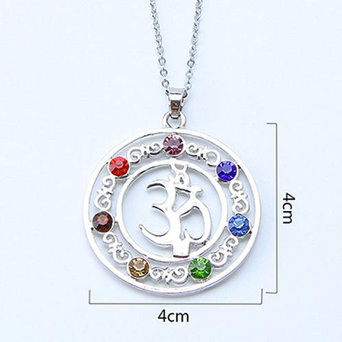 Ohm - 7 Chakra Stones (Rhinestone) pendant with leather necklace