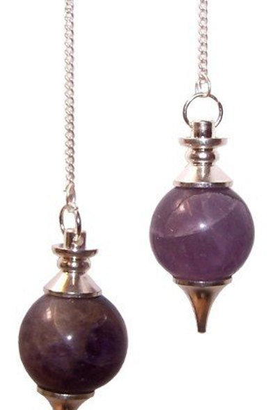 Sphere Pendulums - Amethyst Crystal - with chain