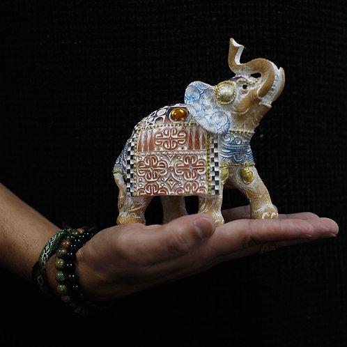 Thai Elephant - Good Luck - Terraccotta and Sky Blue 14 cm