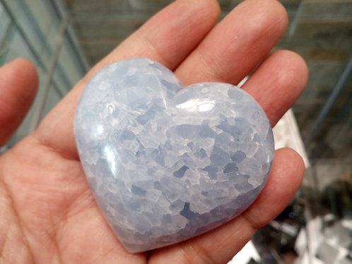 Blue Calcite puff Heart with a gift box - size 50mm approx.