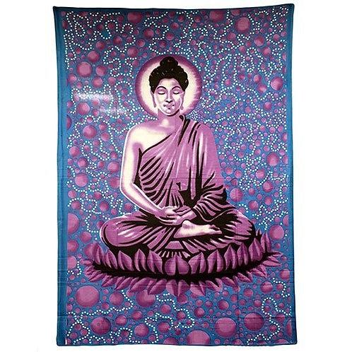 Indian Wall Art or Bedspread - Large Blue Buddha Size 225cm x155cm