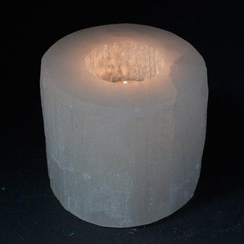 Selenite Cylinder Candle Holder - Size: Diameter 8cm, Height 8cm
