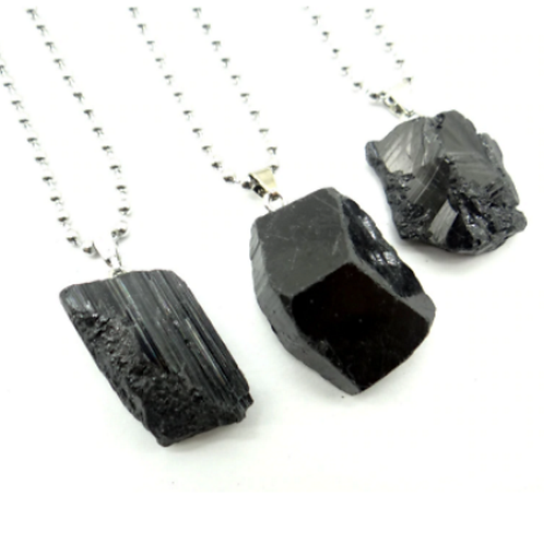Black Tourmaline rough crystal Pendant with a chain