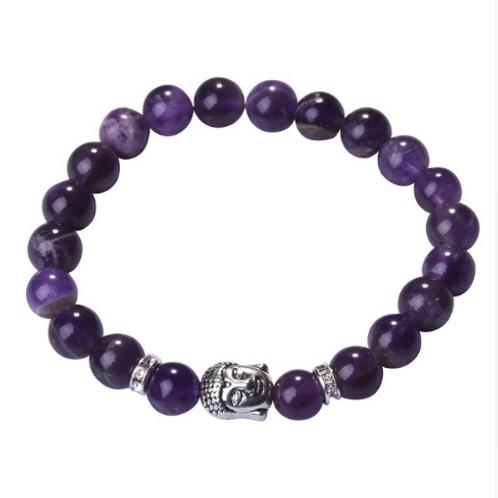 Amethyst Crystal Buddha bracelet