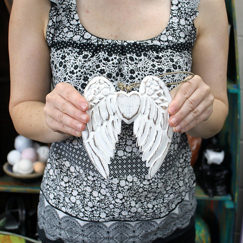Double Angel Wings and Heart - Wooden - Handmade and hand crafted - 15cm