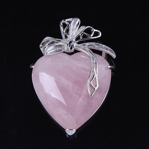 Rose Quartz Heart Pendant - silver plated with Leather chain