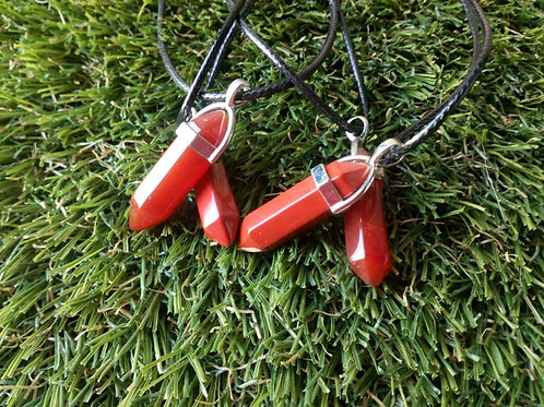Red Jasper double pointed crystal pendant with leather chain