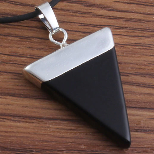Silver Plated Natural Black Onyx pendant with a leather chain