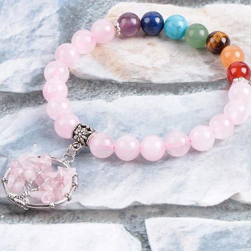 Rose Quartz crystal tree of life 7 chakra bracelet