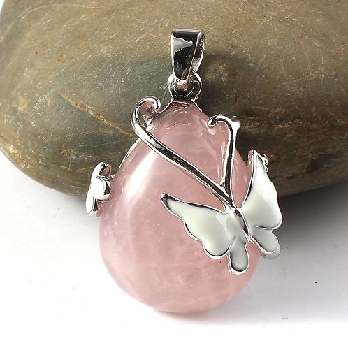 Rose Quartz water droplet Pendant with Silver Plated Butterfly and chain