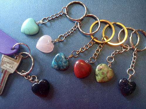 Crystal heart Keyrings - 15 different crystals to choose from