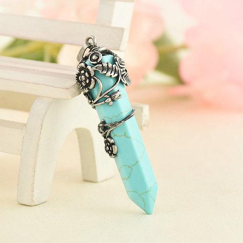 Large Pendulum - with flowers - Turquoise Crystal