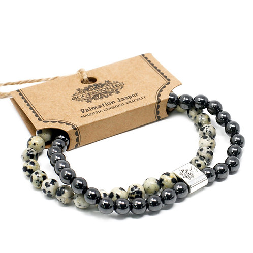 Dalmation Jasper Magnetic Crystal Gemstone Double Bracelet