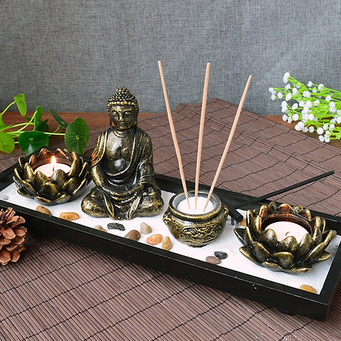 A complete Zen Garden with a Buddha statue, Lotus Flowers etc...