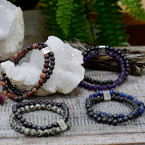Magnetic Crystal Gemstone Double Bracelet (12 to choose from)