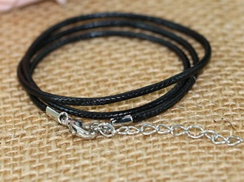 Black Leather Chain - Length: 60cm