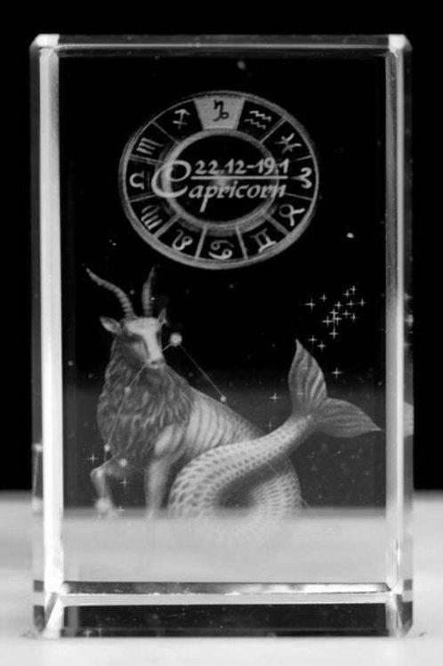 Capricorn - Zodiac Sign 3D Crystal Block with presentation box