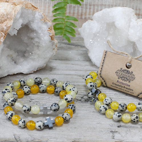Protection - Dalmation Jasper and Yellow Agate - Set of 2 Friendship Bracelets