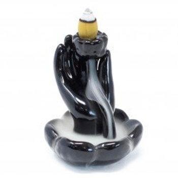 Backflow Incense Burner - Hand and Lotus Flower