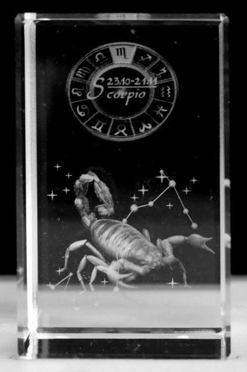 Scorpio - Zodiac Sign 3D Crystal Block with presentation box