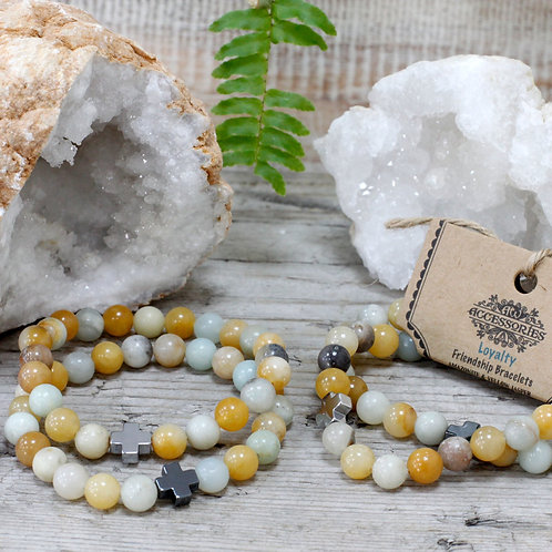 Loyalty - Amazonite andYellow Jasper Crystal - Set of 2 Friendship Bracelets