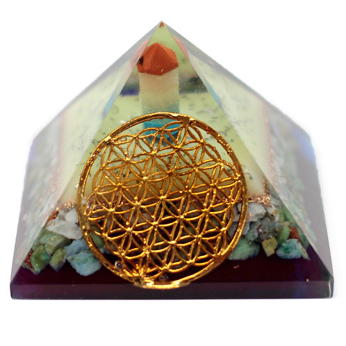 Large Organite Pyramid 70mm - Flower of life symbol