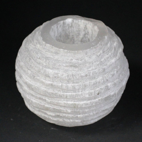 Selenite Snowball Candle Holder - Size: Diameter 9cm, Height 8cm